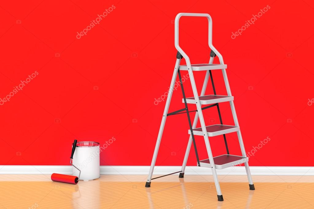 Painting of walls in a red color concept. Paint can with roller
