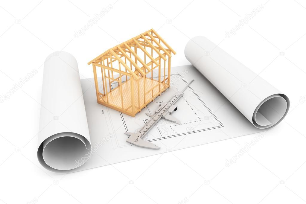 Casa marco con pinza sobre planos del arquitecto — Fotos de Stock ...