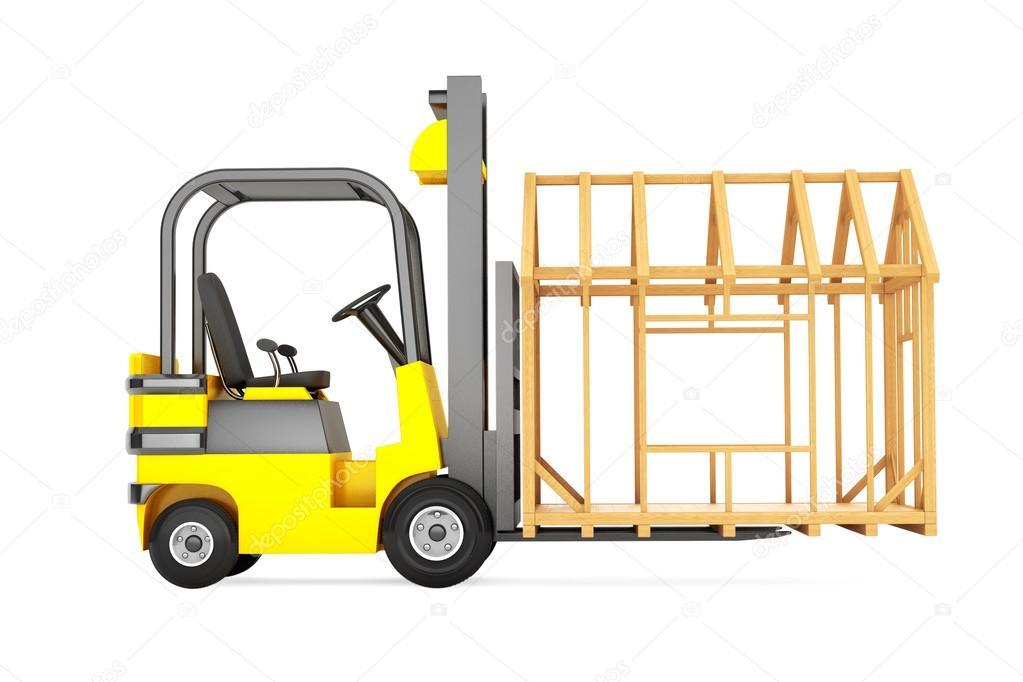 Forklift Truck Moving Frame House — Stock Photo © doomu #85063536