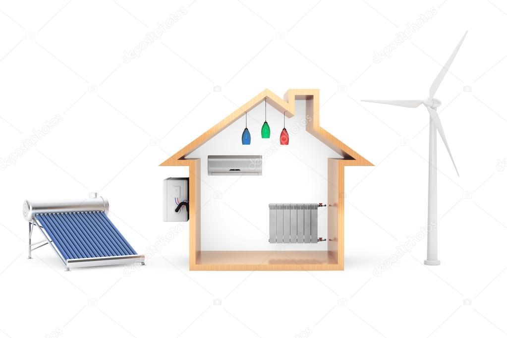 High Quality Windmühle Und Solar Wasser Heizung Produzieren Ökostrom Für House Auf  Weißem Hintergrund U2014 Foto Von Doomu