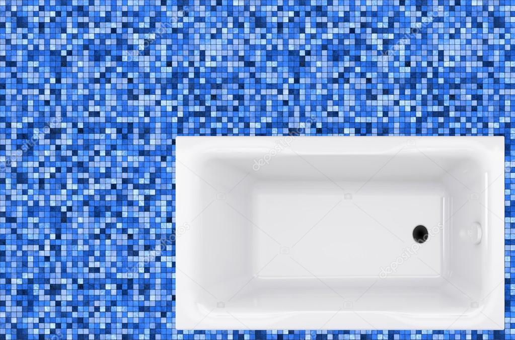 Blaue Mosaik-Fliesen und Bad im Obergeschoss — Stockfoto ...