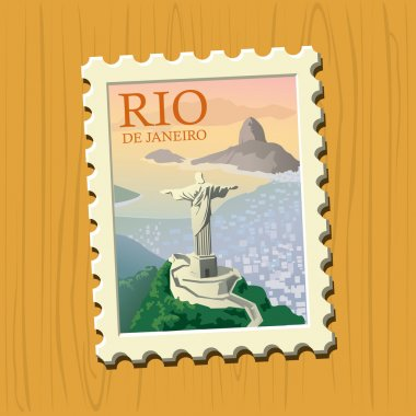 Vector illustrated stamp of famous travel destination clip art vector