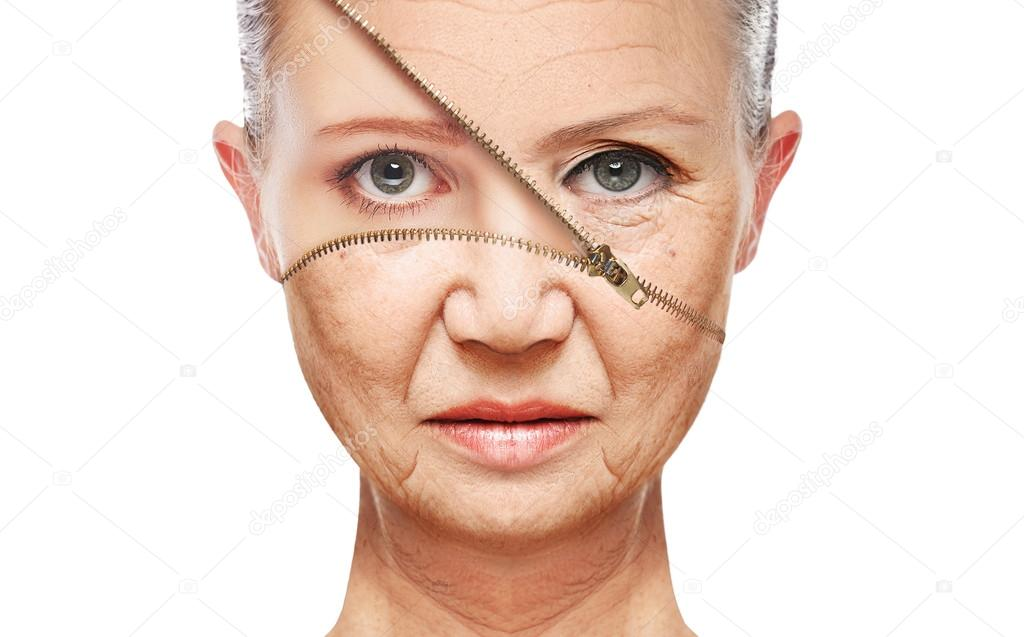 Concept skin aging. anti-aging procedures, rejuvenation, lifting, tightening of facial skin