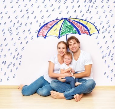 Concept: the social protection of the family. family took refuge from the miseries and rain under an umbrella stock vector