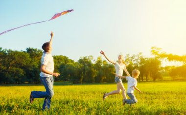 Dad, mom and son child flying a kite in summer nature