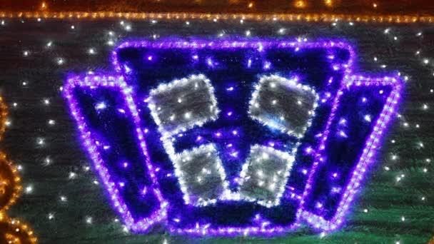 kerst huis raam stockvideo