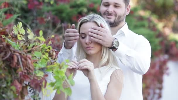 Couple playing surprise