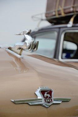 Deer-like hood ornament of the vintage car GAZ