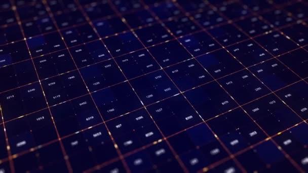 Datová mřížka datových proudových čísel měnících se na digitálním displeji. Animace. Abstraktní protékající bloky obsahu se měnícími se číselnými daty, bezešvé smyčky.