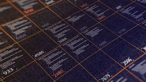 Abstract programming code, technological background. Animation. Software development and flowing computer script chart showing big data connectivity.
