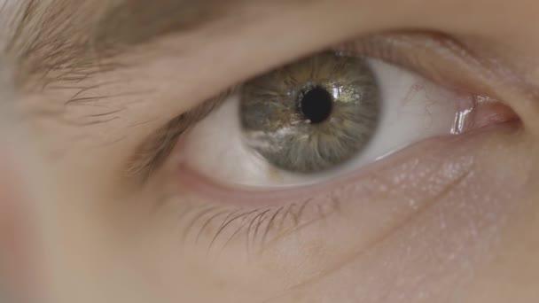 Makro fotografie očí člověka. Akce. Detailní záběr mužského oka se smíšenou šedou barvou. Krásné detaily lidského oka s odrazem v žákovi