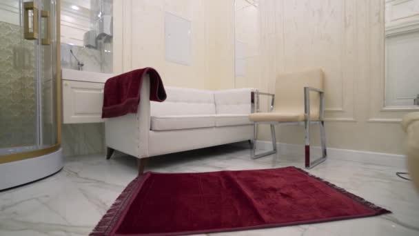 Interiér koupelny se sprchou a pohovkou. Akce. Stylový interiér koupelny s drahou sprchou a pohovkou pro relaxaci. Luxusní koupelna s pohovkou
