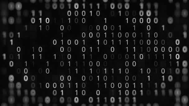 Fekete-fehér háttér nulla-egyes kóddal. Animáció. Bináris kód fekete háttérrel. A bináris kódrendszer meghibásodása. Programozás bináris kóddal
