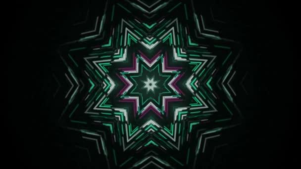 Ozdobná zářivá hvězda, kaleidoskop etnický kmenový psychedelický vzor. Média. Slavnostní pozadí s vánoční barevné hvězdy, bezešvé smyčky.