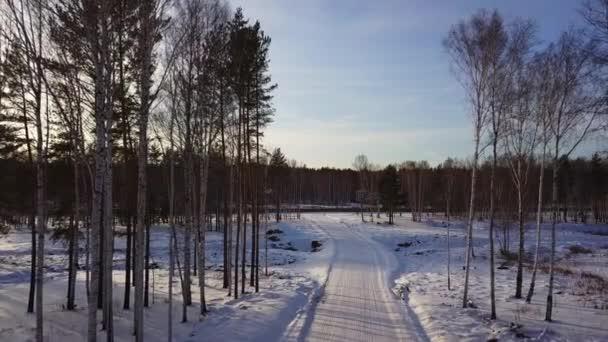 Luftaufnahme der Winterlandschaft mit schneebedeckter Straße. Handeln. Flug entlang seltener Bäume in den Wald und blauer bewölkter Himmel, Sibirien, Russland.