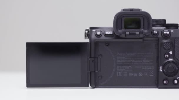 RUSSIA, MOSCOW-DECEMBER, 2020: Sony Camera Screen. Action. New professional Sony a7s III camera with improved performance. Back of professional camera with screen on isolated background