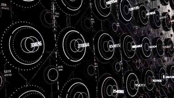 Abstraktní černobílé technologické pozadí, bezešvé smyčky. Animace. Makro počítačová elektronika vzor s pohyblivými prvky, monochromatický.