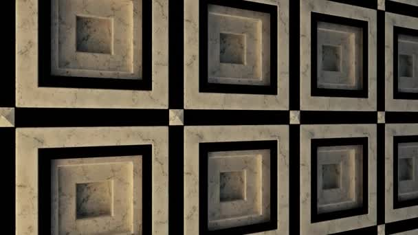 Concept of architecture, abstract porcelain stoneware wall. Animation. Close up of abstract marble tiles for the interior decoration, seamless loop.