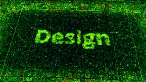 Technologické zázemí s pixelovanou deskou obvodů a šířícími se impulsy. Animace. Částice tvořící slovní design, koncepce tvorby webových stránek.