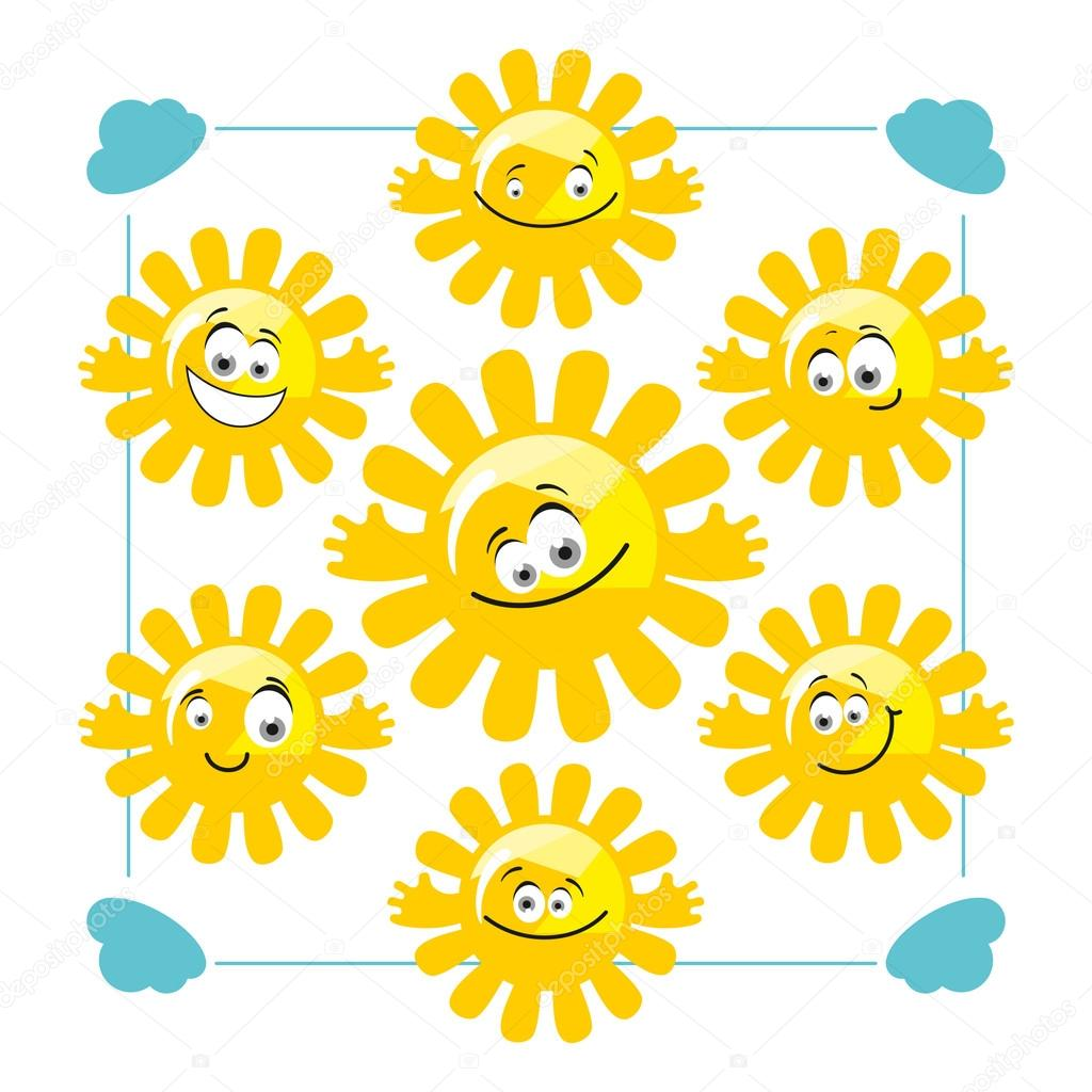 Set of vector funny suns