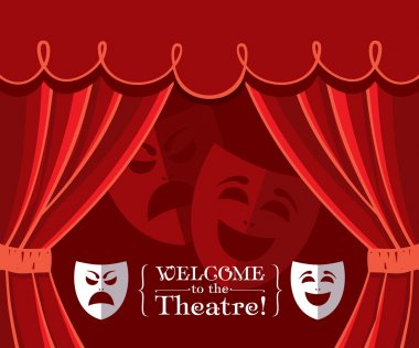 Theater curtains with masks