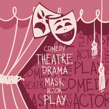 Theater curtains with masks in sketch style