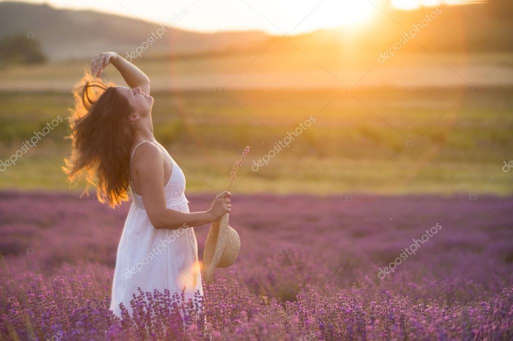 Joyful sunset in the lavender