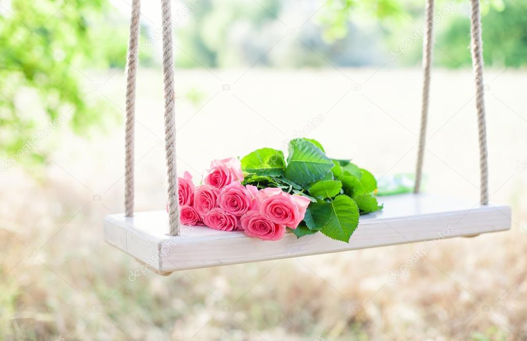 Flowers on a swing