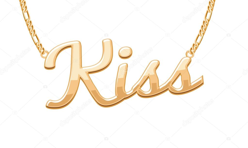 Golden kiss word pendant on chain necklace vector de stock golden kiss word pendant on chain necklace vector de stock aloadofball Choice Image