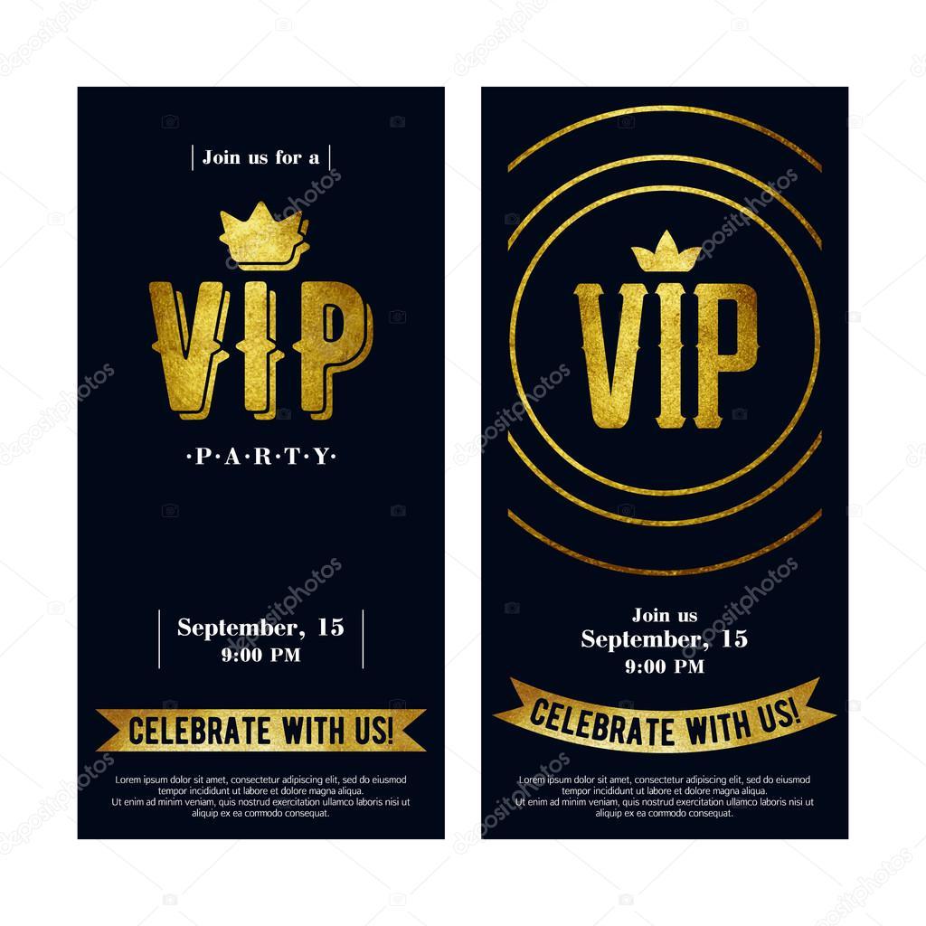 VIP Einladungskarten Mit Goldener Farbe Buchstaben U2014 Stockvektor #101910700