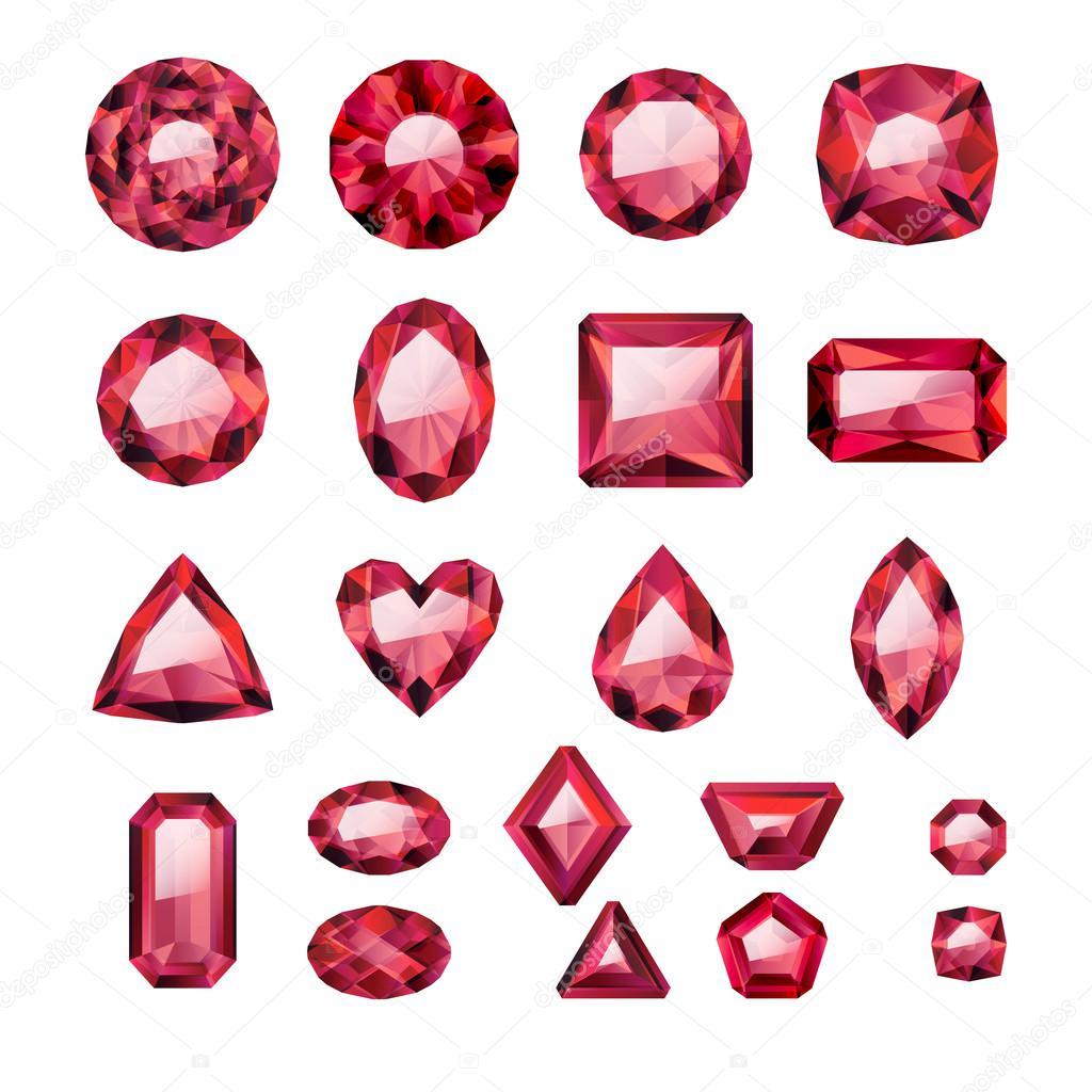 58697c993 Reális piros ékszerek gyűjteménye. Rubin elszigetelt. — Stock Vektor ...