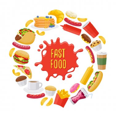 Beautiful fast food icons round background.