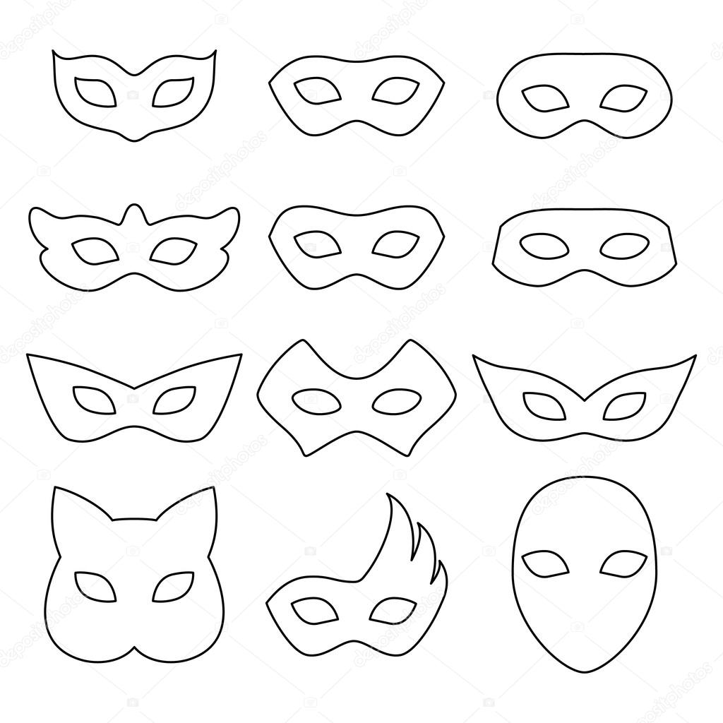 Leere Karneval Masken Symbole Vorlagen Set Abbildung — Stockvektor ...