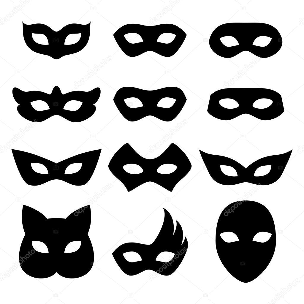 Máscaras de carnaval en blanco los iconos plantillas ilustración set ...