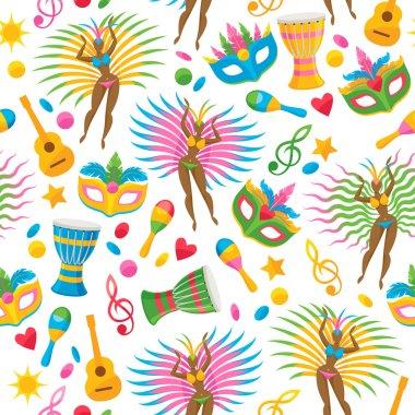 Brazilian carnival background colorful vector illustration. Brazil symbols icons seamless pattern. Guitar drum samba dancer carnival mask confetti texture. Good for cover invitation flyer greeting clip art vector
