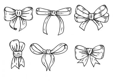 Set of black and white bows