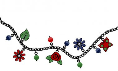 Black charm bracelet border with beads