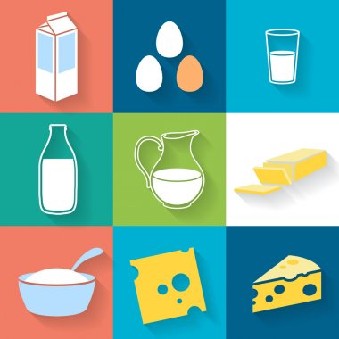 Dairy icons set