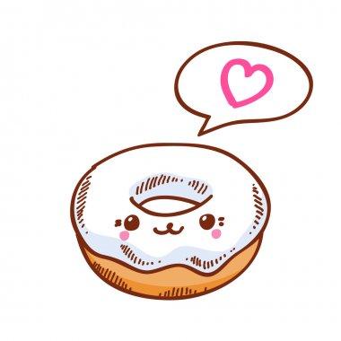 Cute kawaii donut.