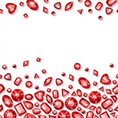 Red jewels seamless horizontal background
