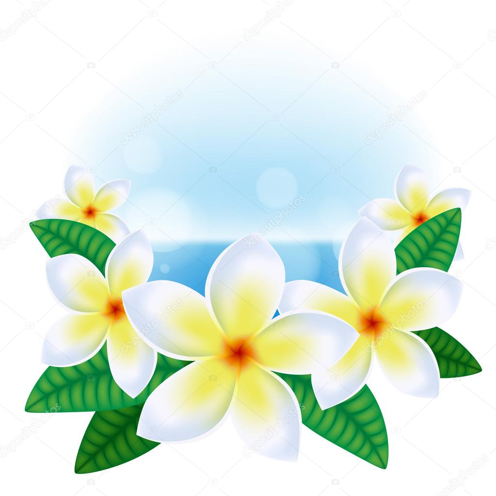 Summer background with hawaiian flowers stock vector reamolko summer background with hawaiian plumeria flowers and sea vector by reamolko izmirmasajfo