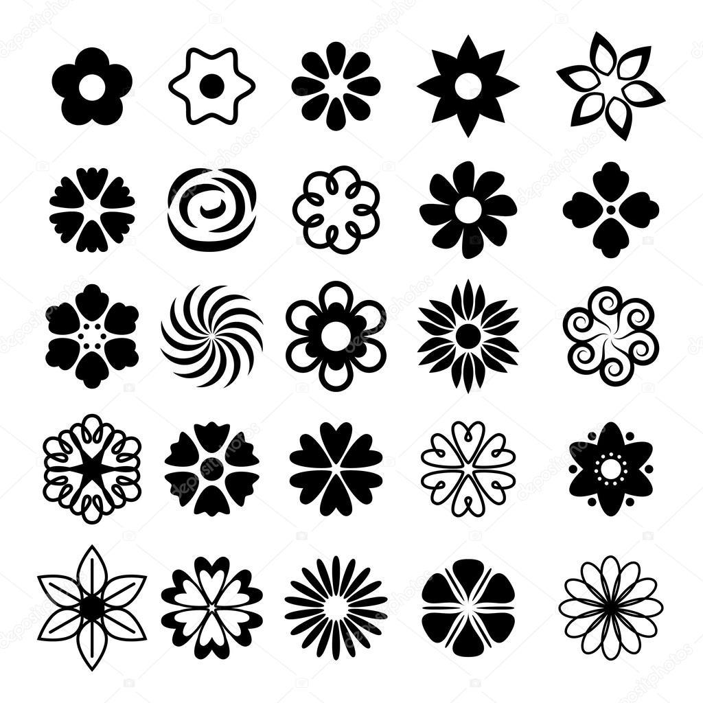 Vectores Flores Sencillas Conjunto De Iconos De Flores Sencillas