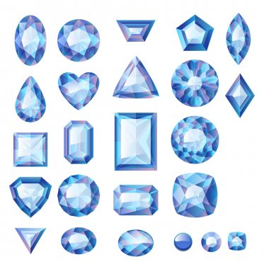 Set of realistic blue jewels