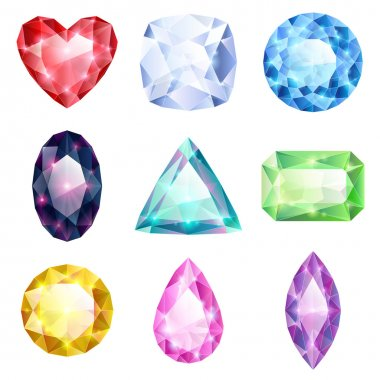 Set of realistic colorful jewels