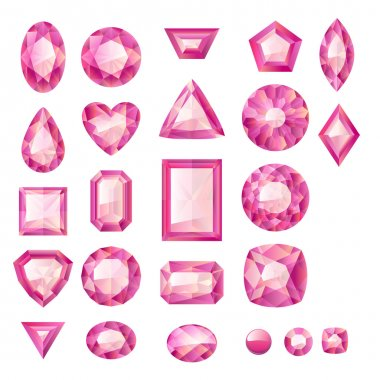 Set of realistic pink jewels