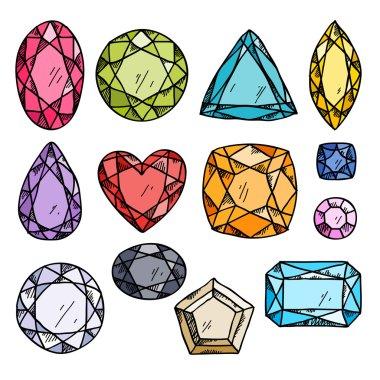 Set of colorful jewels