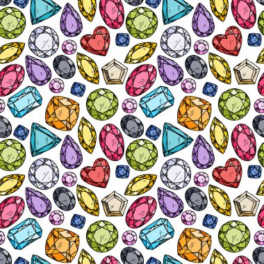 Seamless pattern of colorful jewels
