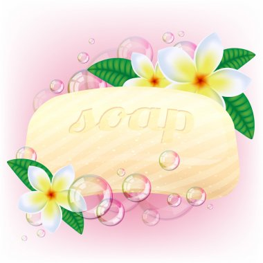 Yellow soap bar with bubbles