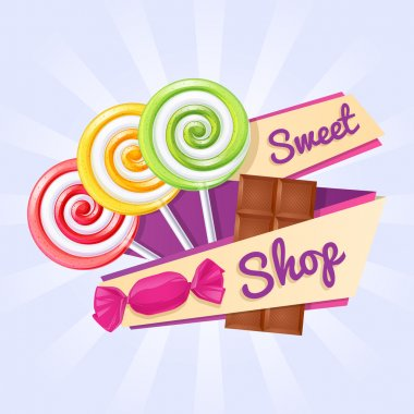 Sweet shop poster. Background with lollipops, candy and chocolate bar on ribbon stock vector