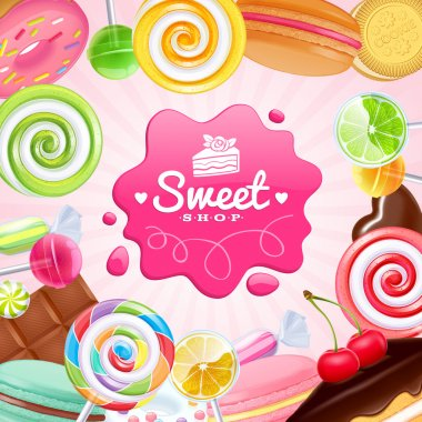 Different sweets colorful background. Lollipops, cake, macarons, chocolate bar, candies and donut on shine background stock vector
